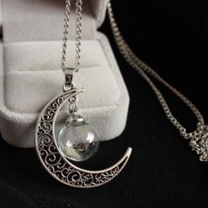 Jewelry - NEW natural dandelion crescent moon necklace